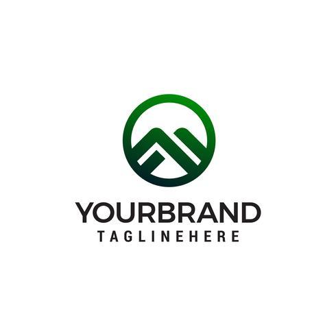 lettre m montagne cercle logo design concept template vecteur