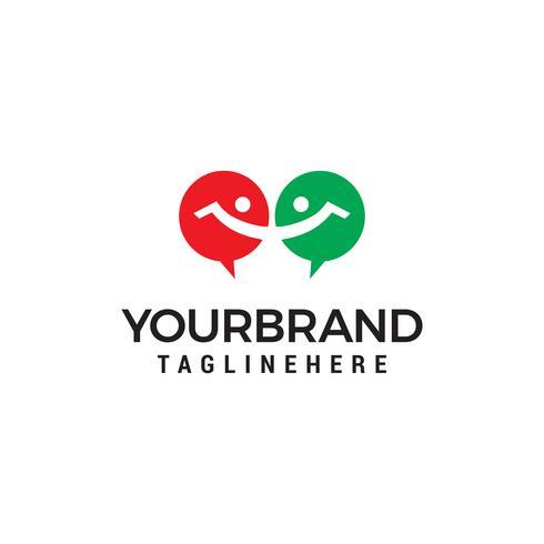 Chat people logo design concept template vecteur