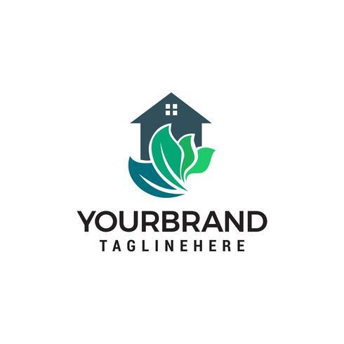 Maison verte logo design concept template vecteur