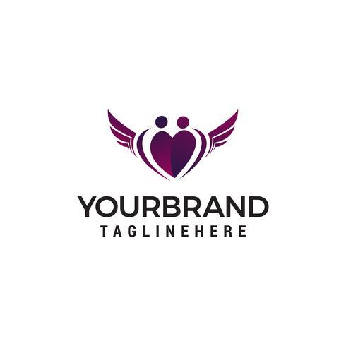 famille amour aile logo design concept template vecteur
