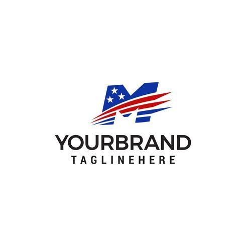 lettre m logo américain design concept template vecteur