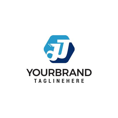 lettre jj hexagone logo design concept template vecteur