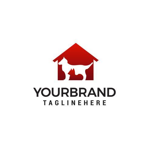 Logo chien et chat. Modèle de concept de concept de soins animaux logo design vecteur
