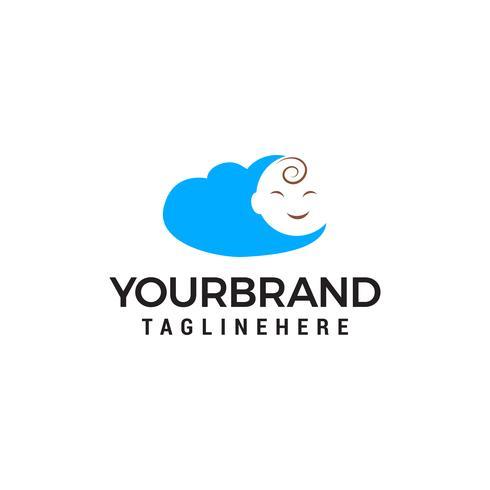 bébé visage nuage logo design concept template vecteur