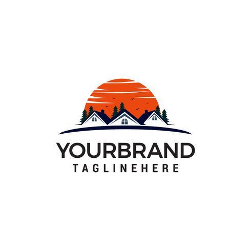 immobilier avec soleil logo design concept template vecteur