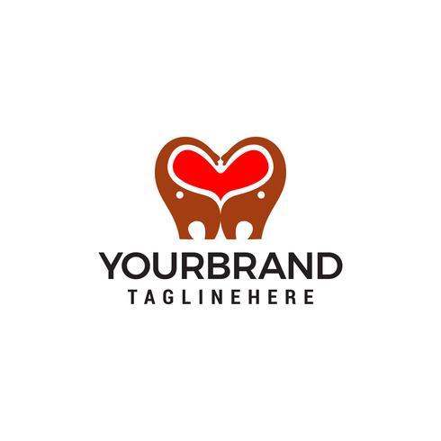 coeur amour éléphant logo design concept template vecteur