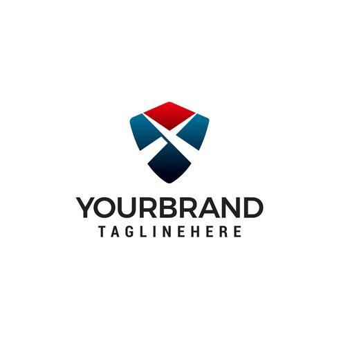 lettre x bouclier logo design concept template vecteur