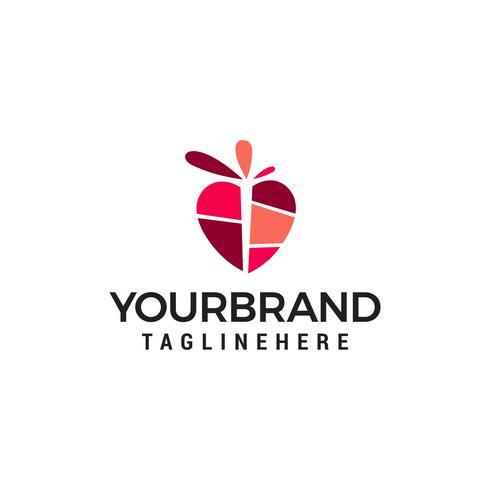 coeur logo design concept template vecteur