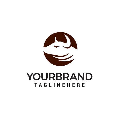 tête de vache logo design concept template vecteur