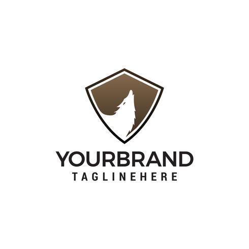 Logo de bouclier de loup. loup sécurité bouclier logo design concept template vecteur