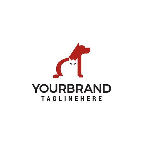 Logo chien et chat. Modèle de vecteur de conception de logo de soins aux animaux