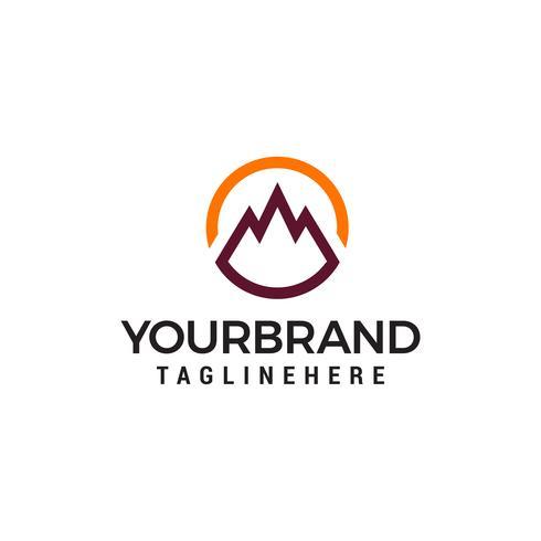 montagne cercle logo design concept template vecteur