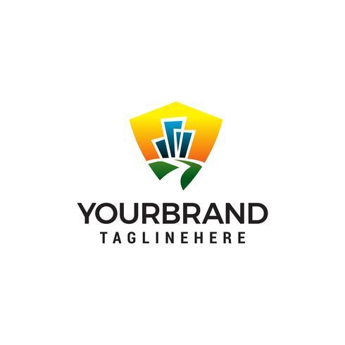 bâtiment route logo design concept template vecteur