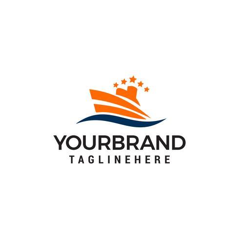 Logo de bateau, concept de design de logo de bateau à voile nautique vecteur