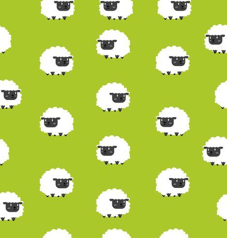 Joli motif noir de petits moutons sans soudure vecteur