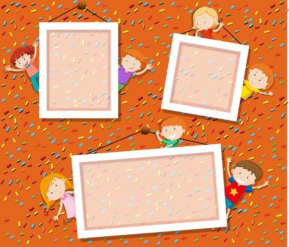 Enfants sur joli cadre photo vecteur