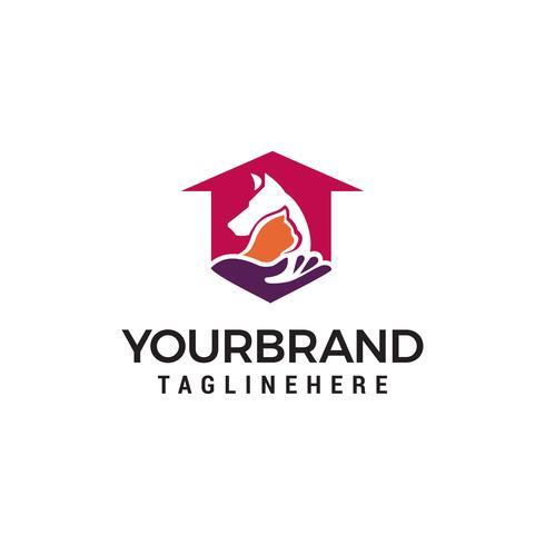 Soins aux animaux chien chat animal de compagnie maison maison amour logo design concept template vecteur