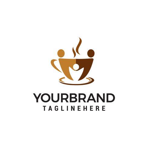 café communauté logo design concept template vecteur