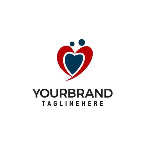 Partager le modèle de dessins vectoriels d'amour coeur coeur cercle logo vector