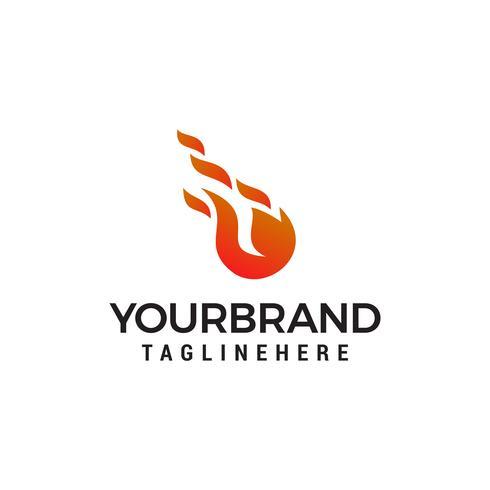 boule de feu feu flamme logo design concept template vecteur