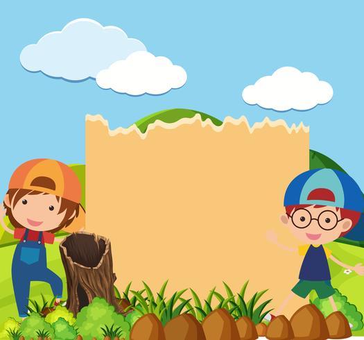 Modèle de frontière avec deux garçons dans le parc vecteur