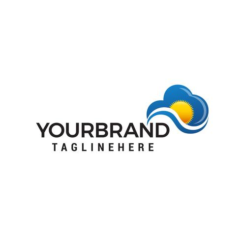 soleil nuageux logo design concept template vecteur