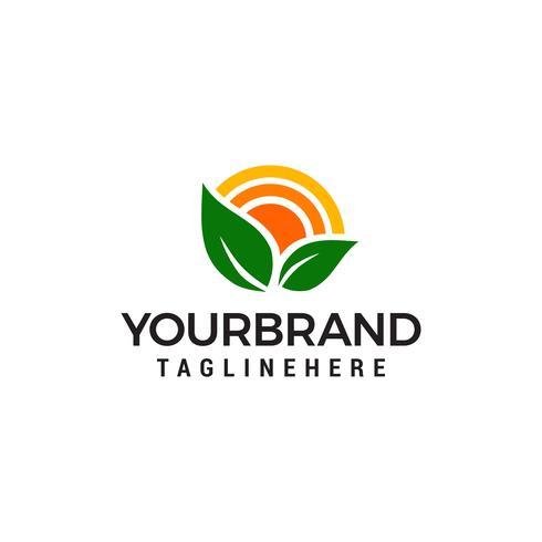 Concept de design de logo Nature Green Landscape Sunrise vecteur
