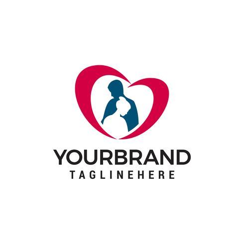 Couple de vecteur avec le logo du coeur. Symbole de la marque