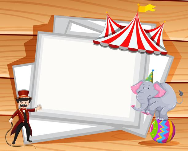 Dessin de la frontière avec spectacle d'éléphants au cirque vecteur