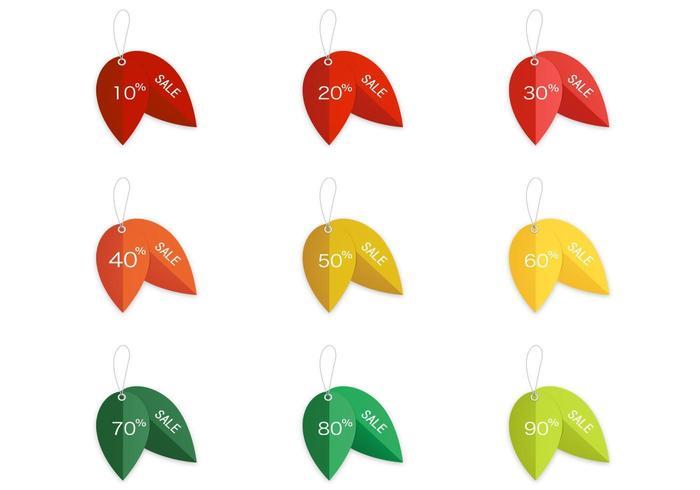 Tag des ventes de feuilles vecteur