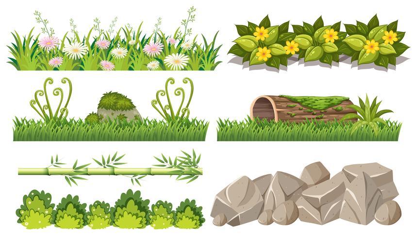 Ensemble d'objets forestiers vecteur