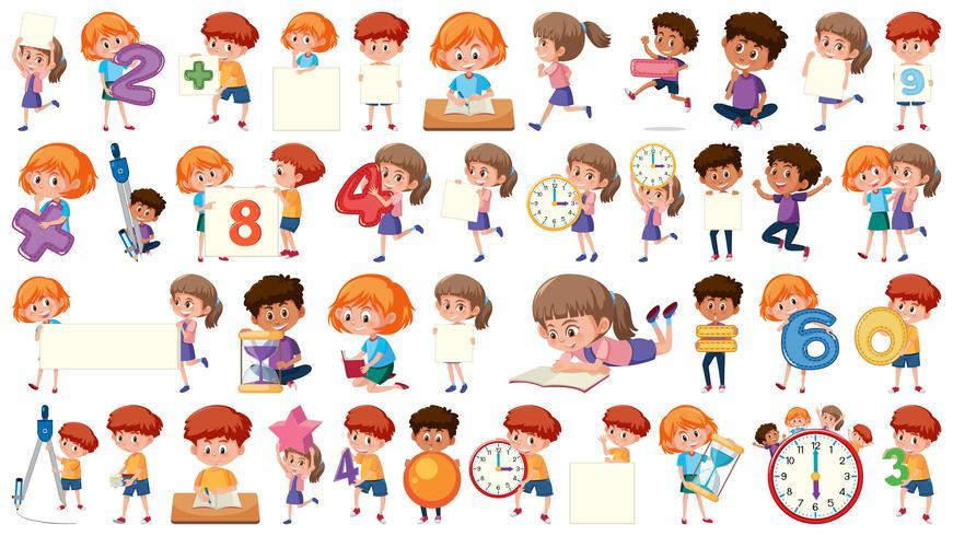Jeu de caractères mathématiques pour enfants vecteur