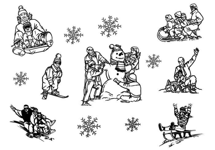 Pack de vecteur traîneau famille hiver dessiné à la main