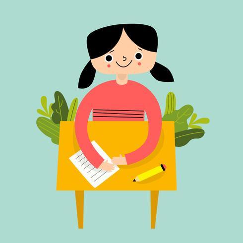 Siège de fille sur le banc d'école avec feuilles vecteur