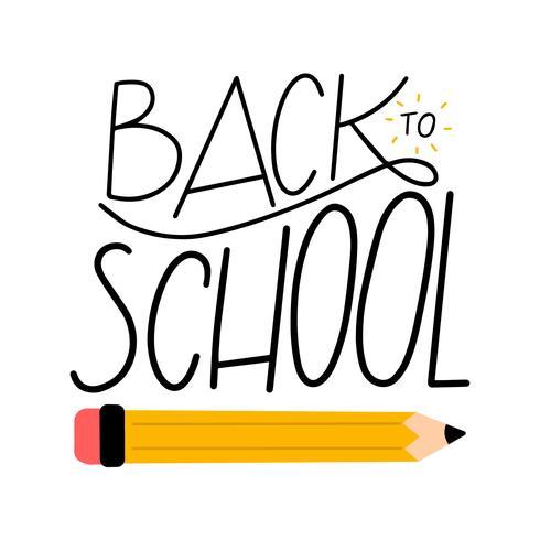 Lettrage sur le retour à l'école avec un crayon vecteur