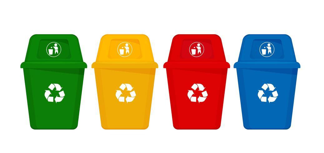 La séparation des déchets de couleur et des déchets est un déchet écologique et recyclable. vecteur