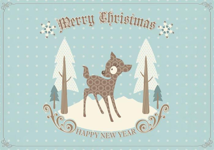 Vecteur de carte de Noël de cerf rétro