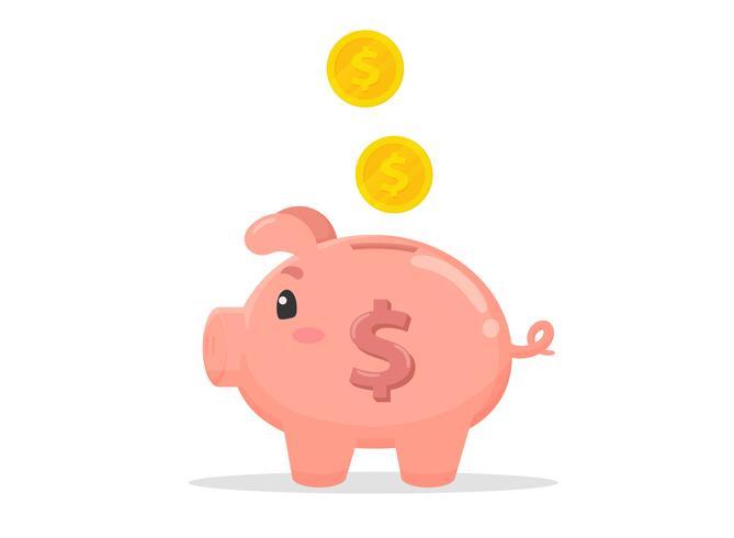 Tirelire en forme de cochon qui collecte beaucoup d'argent. vecteur