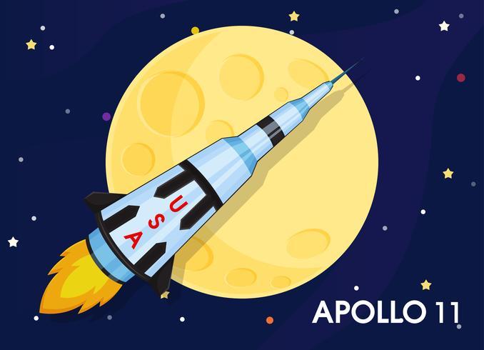 Apollo 11 Le vaisseau spatial a été envoyé pour explorer les premières lunes du monde. vecteur