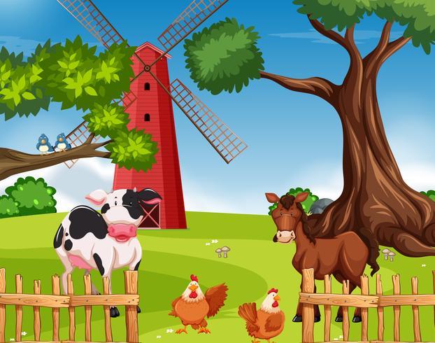 Animal de ferme dans les terres agricoles vecteur