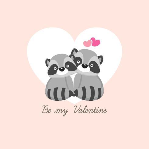 Bonne carte de voeux Saint Valentin. Couple de cerfs tombent amoureux. vecteur