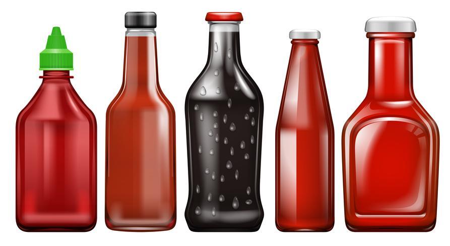 Ensemble de bouteille de sauce différente vecteur