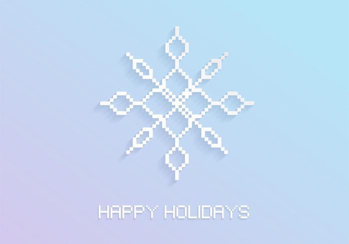 Pixel flocon de neige fond de vacances vecteur