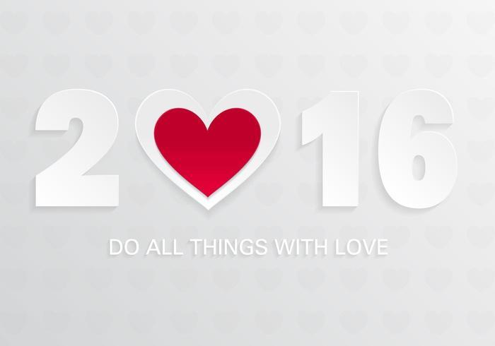 2016 avec fond de vecteur d'amour