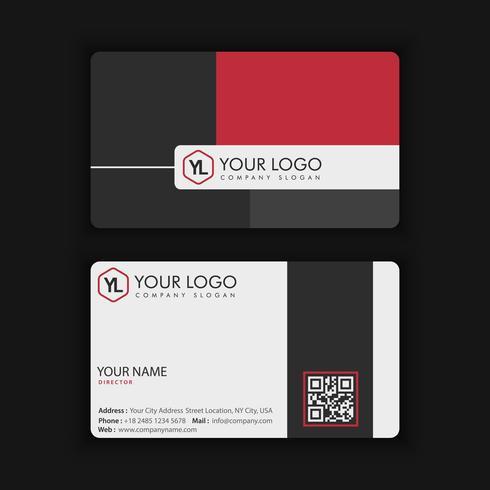 Modèle de carte de visite moderne créative et propre avec blackcolor rouge vecteur