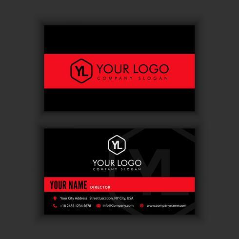 Modèle de carte de visite moderne créative et propre avec une couleur noir rouge vecteur