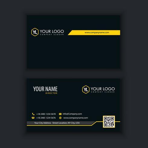 Modèle de carte de visite moderne créative et propre avec lin jaune vecteur