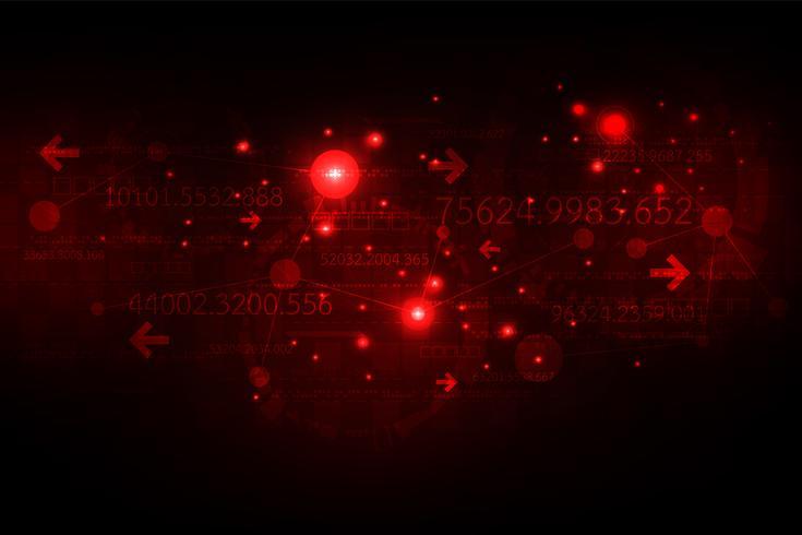 Réseau de communication numérique sur fond rouge foncé. vecteur