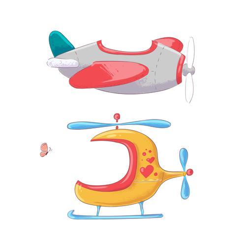 Illustration de dessin animé mignon définir le style de dessin main hélicoptère avion avion de transport aérien. vecteur