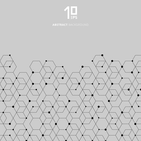 Motif d'hexagones noirs de technologie abstraite et connexion de nœud sur fond gris vecteur